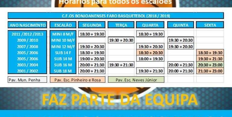 Seção de Basquetebol – Horário treinos para a época 2018/2019